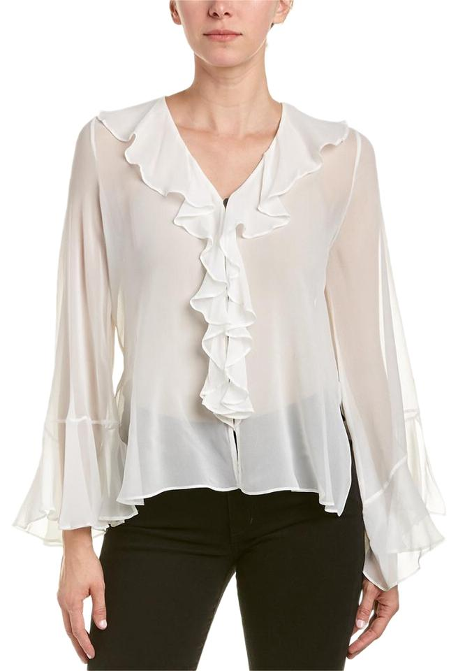 ec68d9d2096ecc Haute Hippie White Women's Romeo & Juliet Silk New M Blouse Size 8 ...
