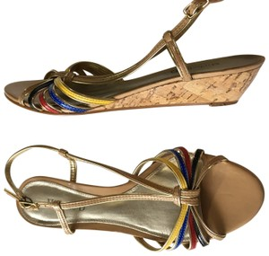 Michelle D Nude, Gold, red Sandals