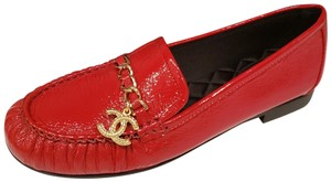 Chanel Loafers Moccasin Patent Leather Chain Charm Red Flats