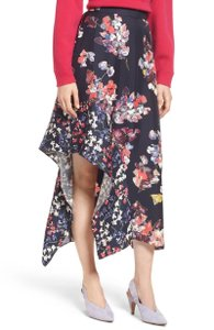 Lewit Silk Floral Print Asymmetrical Casual Skirt Navy
