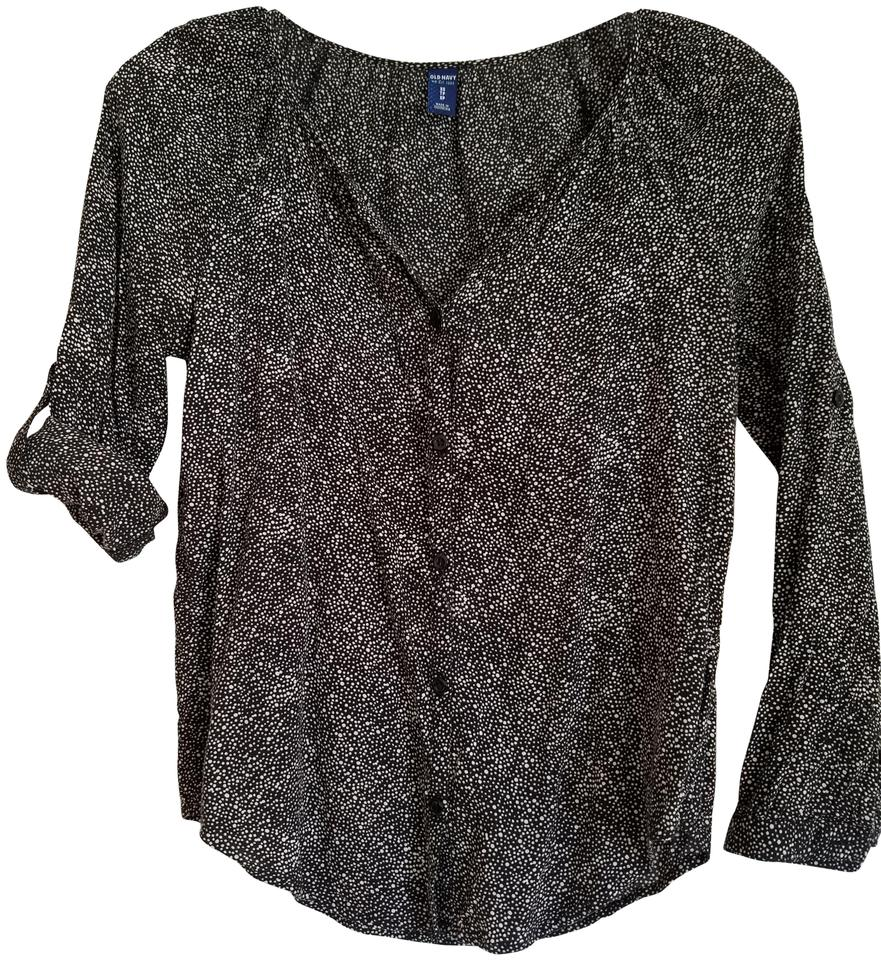 972276c26f Old Navy Black and White Convertible Sleeve Patterned Blouse Button-down Top.  Size: 2 ...