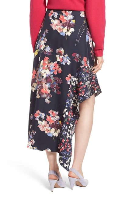 Lewit Silk Floral Asymmetrical Skirt Navy Image 1