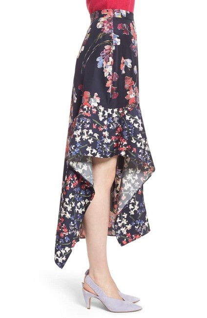 Lewit Silk Floral Asymmetrical Skirt Navy Image 2