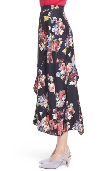Lewit Silk Floral Asymmetrical Skirt Navy Image 3