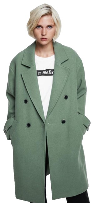 Item - Green Double Breasted Lapel Collared Button Coat Size 12 (L)