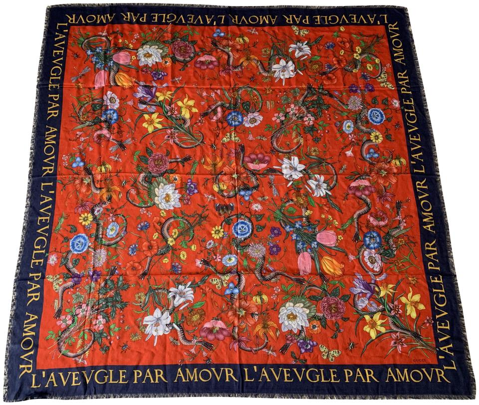 eb34baf22fc Gucci Gucci Flora Floral Snake Blind For Love Red Navy Blue Shawl Scarf Wrap  Image 0 ...
