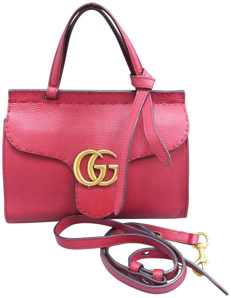 9dd22757509a Gucci Calfskin Marmont Top Handle Satchel in Red Image 0 ...