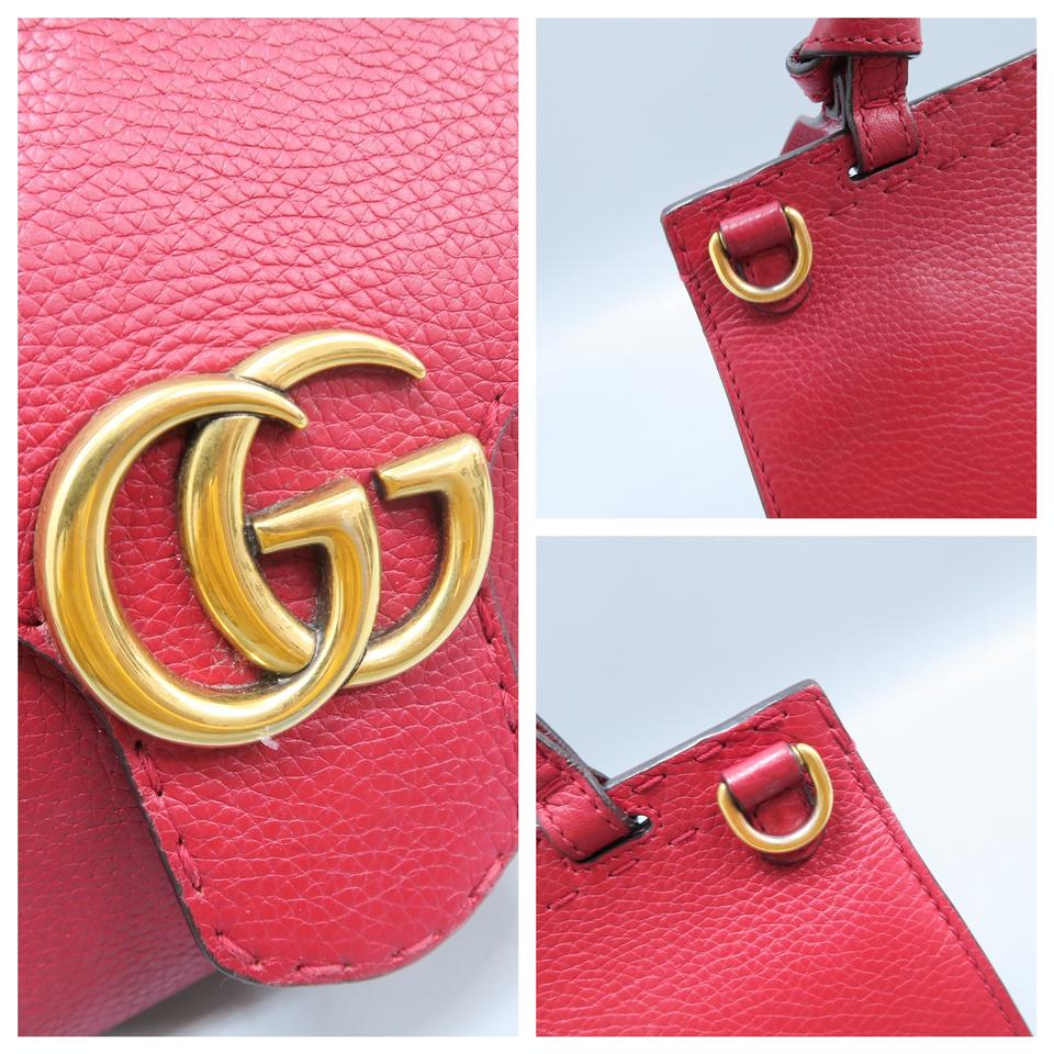 f2851a4c6c0e Gucci Calfskin Marmont Top Handle Satchel in Red Image 11. 123456789101112
