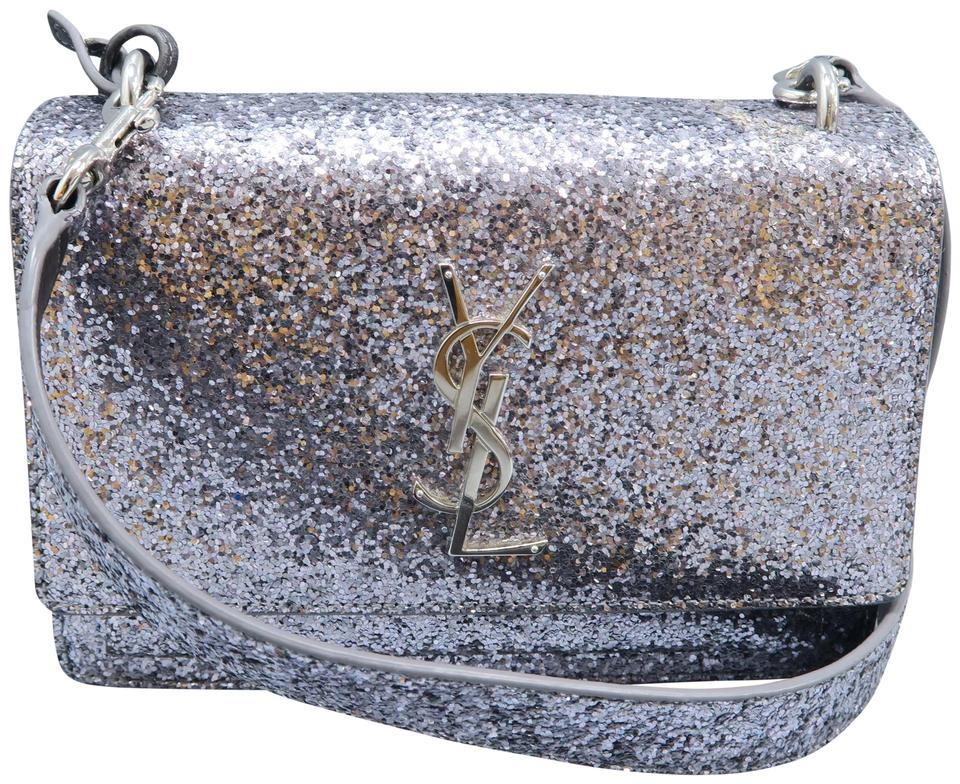 1810e7312cb18 Saint Laurent Monogram Sunset Silver Sequin Shoulder Bag