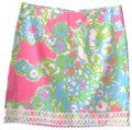 Lilly Pulitzer Floral Preppy Hot Lace Trim Resort Mini Skirt pink