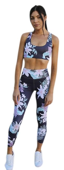 Item - Blue Dark with Floral Design and Matching Top Leggings Size 2 (XS, 26)
