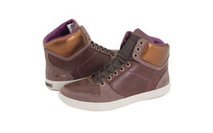 7b7f6602a Lacoste High Top Canvas Suede Sneakers Rubber Gold Athletic