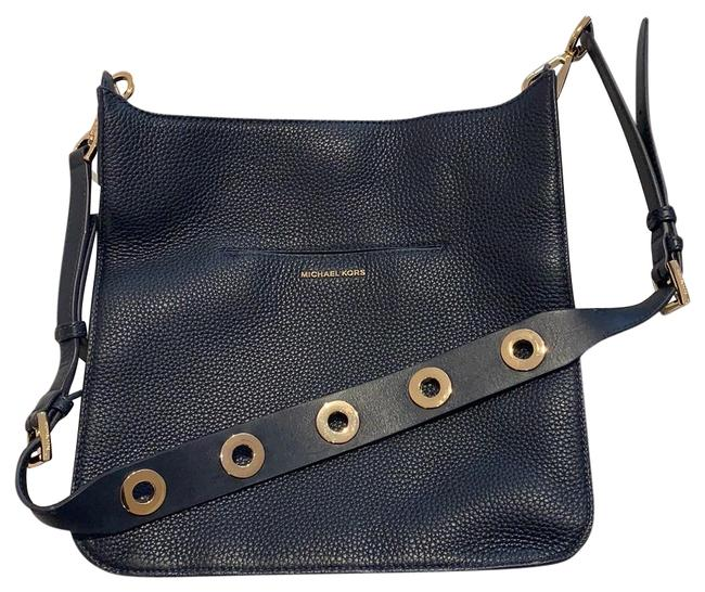 Item - Navy with Gold Details Leather Messenger Bag