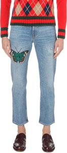 55f1bc6dac Gucci Blue Butterfly Embroidered Regular-fit Denim Pants Size 4 (S ...