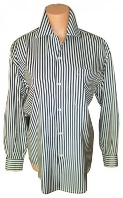 Preload https://img-static.tradesy.com/item/25047/ann-taylor-black-and-white-striped-silk-shirt-blouse-size-petite-8-m-0-0-650-650.jpg