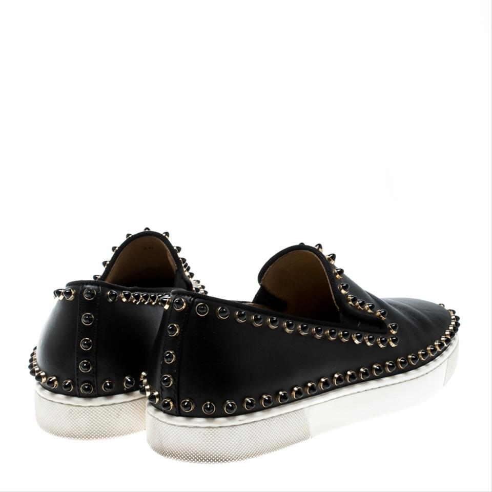 7a1bf7c45095 Christian Louboutin Black Leather Spike Pik Boat Slip On Sneakers Flats Size  EU 36 (Approx. US 6) Regular (M