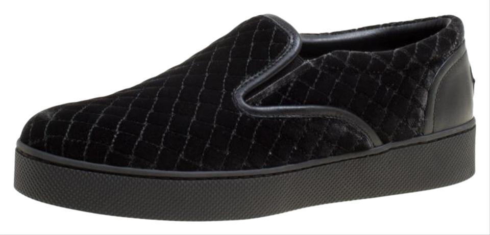 2d630a2f9b9 Bottega Veneta Black Quilted Velvet Dodger Intrecciato Slip On Sneakers  Flats
