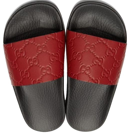 Gucci Red Gg Supreme Pool Slides Sandals Size Eu 36