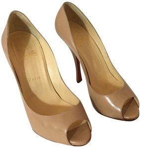 Christian Louboutin Neon Patent Patent Leather Pointed Toe So Kate NUDE Pumps