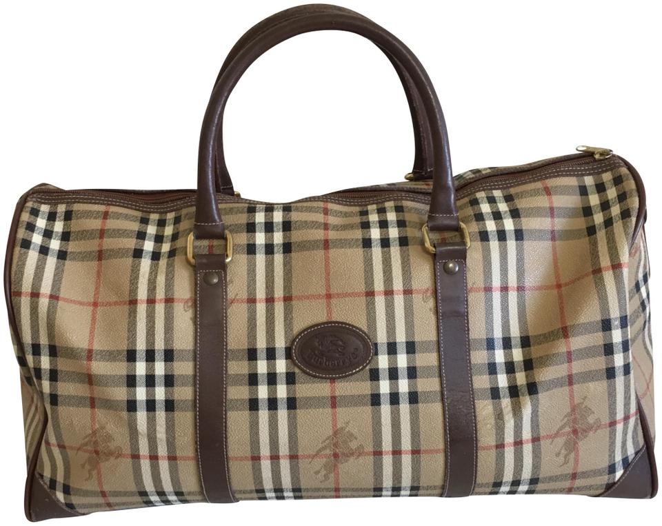 dd8fe41d8d21 Burberry Large Nova Check Unisex Brown Coated Canvas Weekend Travel ...