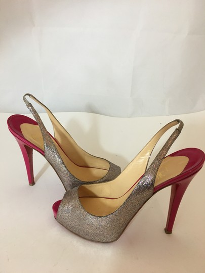 Christian Louboutin Neon Patent Patent Leather Pointed Toe So Kate SILVER Pumps Image 1