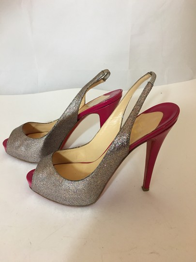 Christian Louboutin Neon Patent Patent Leather Pointed Toe So Kate SILVER Pumps Image 2