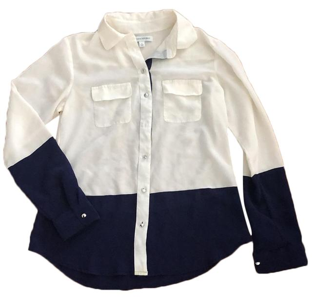 Item - Navy and White Silk Color Blocked Blouse Size 6 (S)