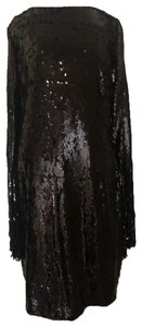 Alberto Makali Distressed Cocktail Fringed Sleeve Fitted Dress