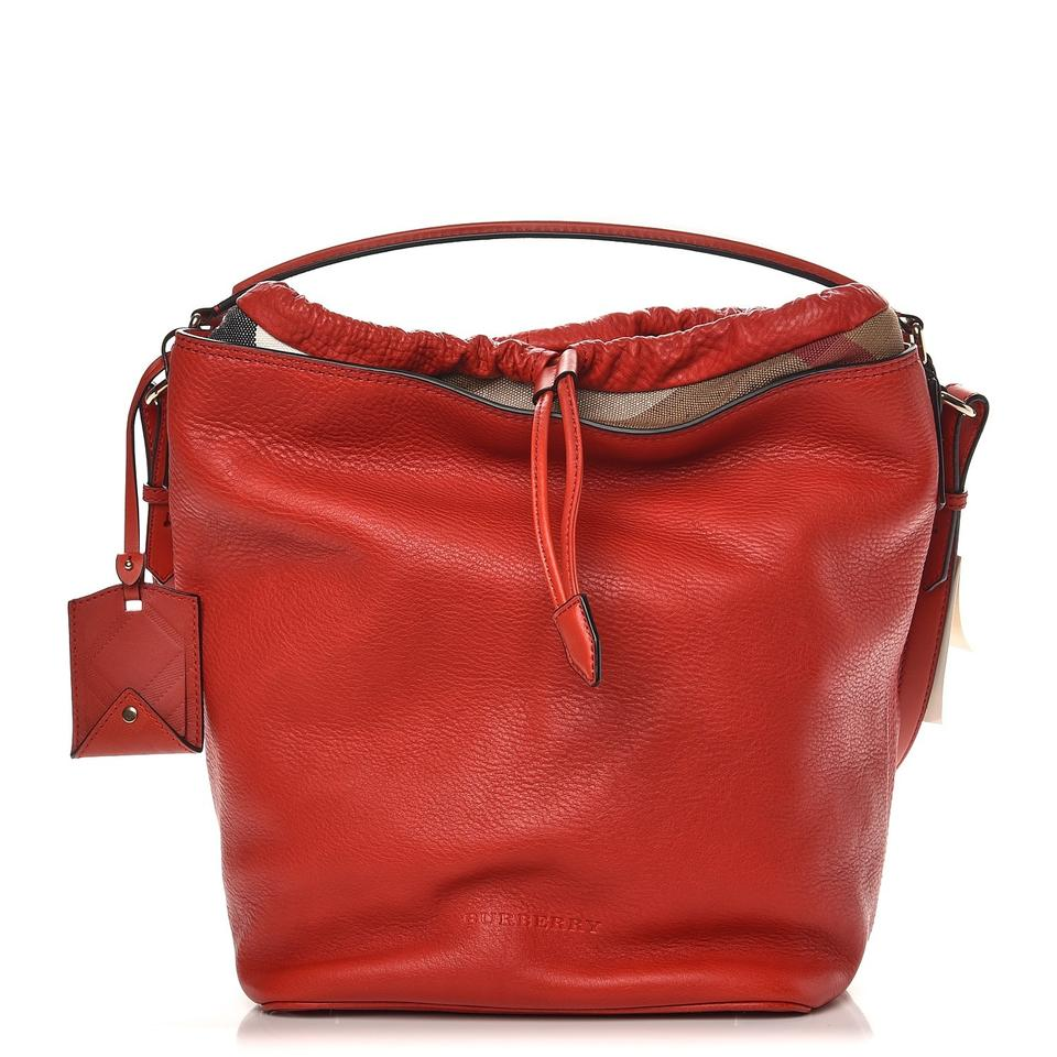 fe34b38d971b Burberry Ashby Cadmium Textured Canvas Check Red Leather Hobo Bag ...