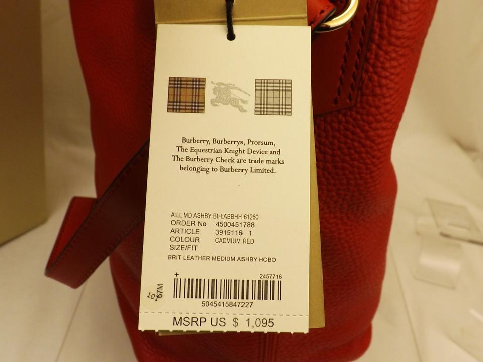 4d0181f8ee7e Burberry Ashby Cadmium Textured Canvas Check Red Leather Hobo Bag ...
