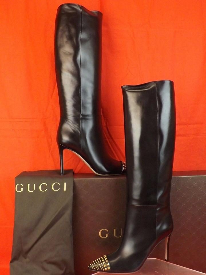 0a2f1566a27 Gucci Black Coline Leather Gold Studded Cap Toe Tall Classic Boots/Booties  Size EU 39 (Approx. US 9) Regular (M, B) 62% off retail
