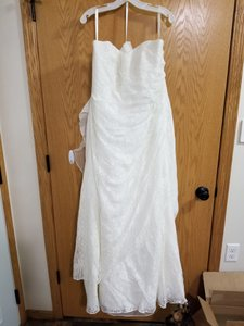 David's Bridal Ivory Polyester Allover Lace A Line Strapless Modest Wedding Dress Size 16 (XL, Plus 0x)