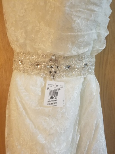 David's Bridal Ivory Polyester Allover Lace A Line Strapless Modest Wedding Dress Size 16 (XL, Plus 0x) Image 1
