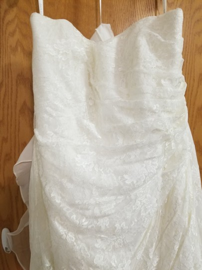 David's Bridal Ivory Polyester Allover Lace A Line Strapless Modest Wedding Dress Size 16 (XL, Plus 0x) Image 4