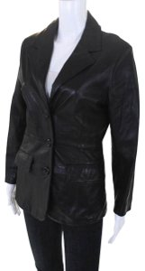 Bergdorf Goodman Single Breasted Leather Lined Collar Button Black Blazer