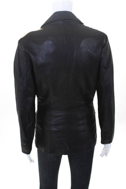 Bergdorf Goodman Single Breasted Leather Lined Collar Button Black Blazer Image 1