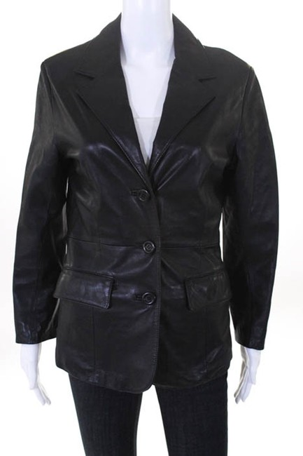 Bergdorf Goodman Single Breasted Leather Lined Collar Button Black Blazer Image 2