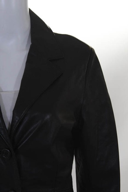 Bergdorf Goodman Single Breasted Leather Lined Collar Button Black Blazer Image 3