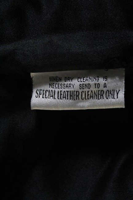Bergdorf Goodman Single Breasted Leather Lined Collar Button Black Blazer Image 4