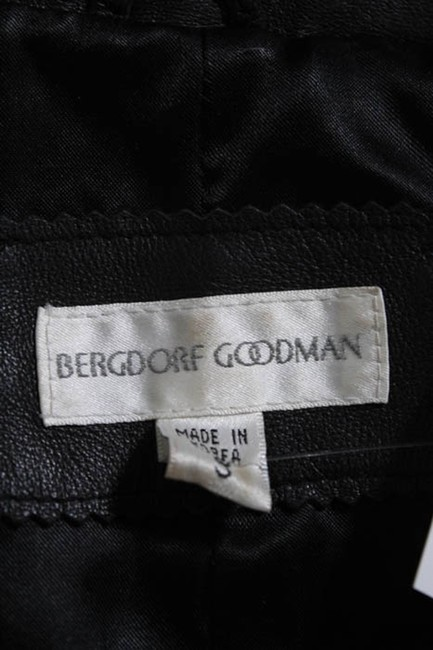 Bergdorf Goodman Single Breasted Leather Lined Collar Button Black Blazer Image 6