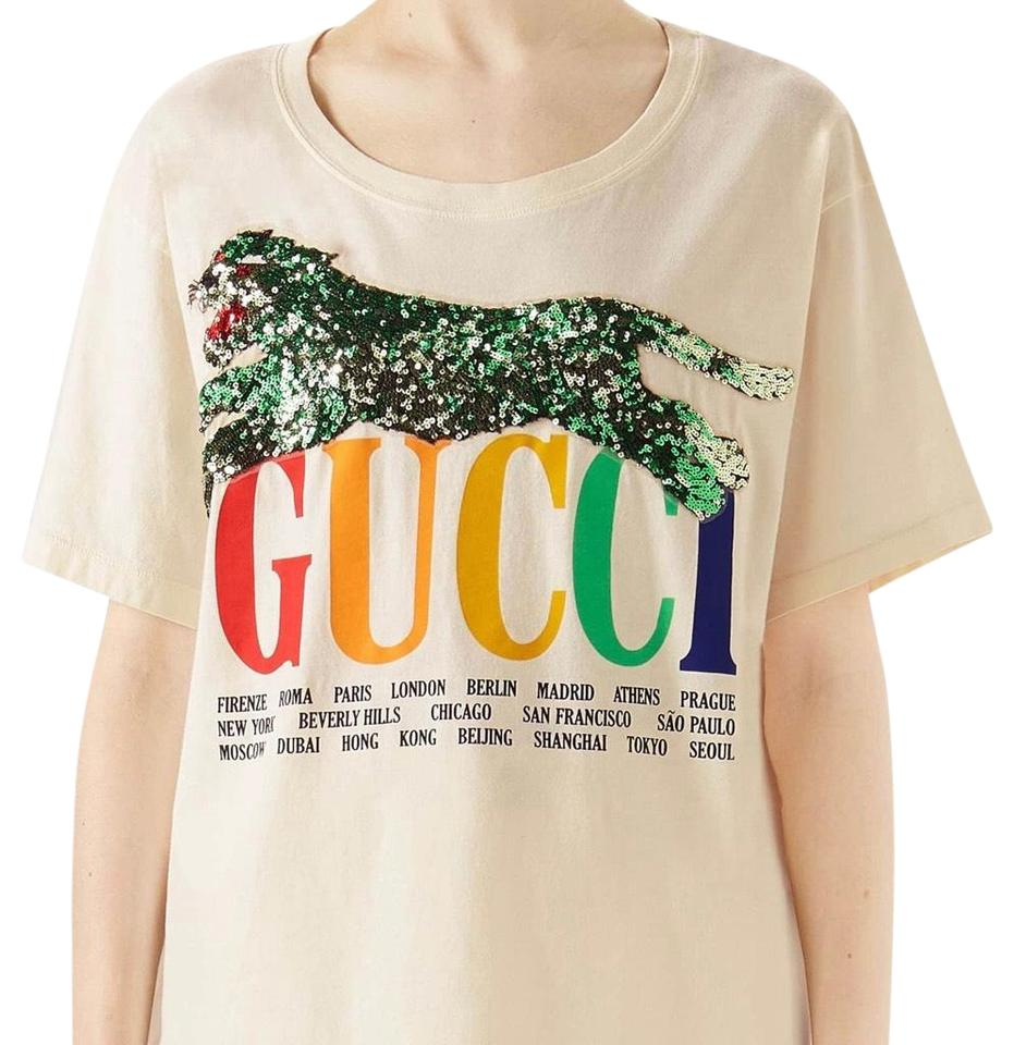 0b37b9255720 Gucci Cream Embellished Graphic Tee Shirt Size 8 (M) - Tradesy