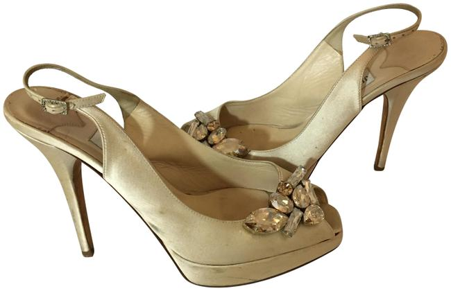 "Item - Ivory W 132319 Satin Sandals W/ Crystal Peeptoe 5.25"" Heels Wedges Size EU 40 (Approx. US 10) Regular (M, B)"