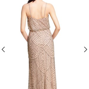 Adrianna Papell Taupe/Pink Chiffon with Beading Art Deco Gown Modern Bridesmaid/Mob Dress Size 8 (M)