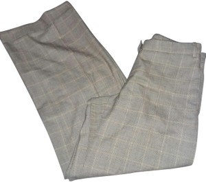 Salvatore Ferragamo Classic Windowpane Check Cuff Trouser Pants multi-tan/ivory/brown