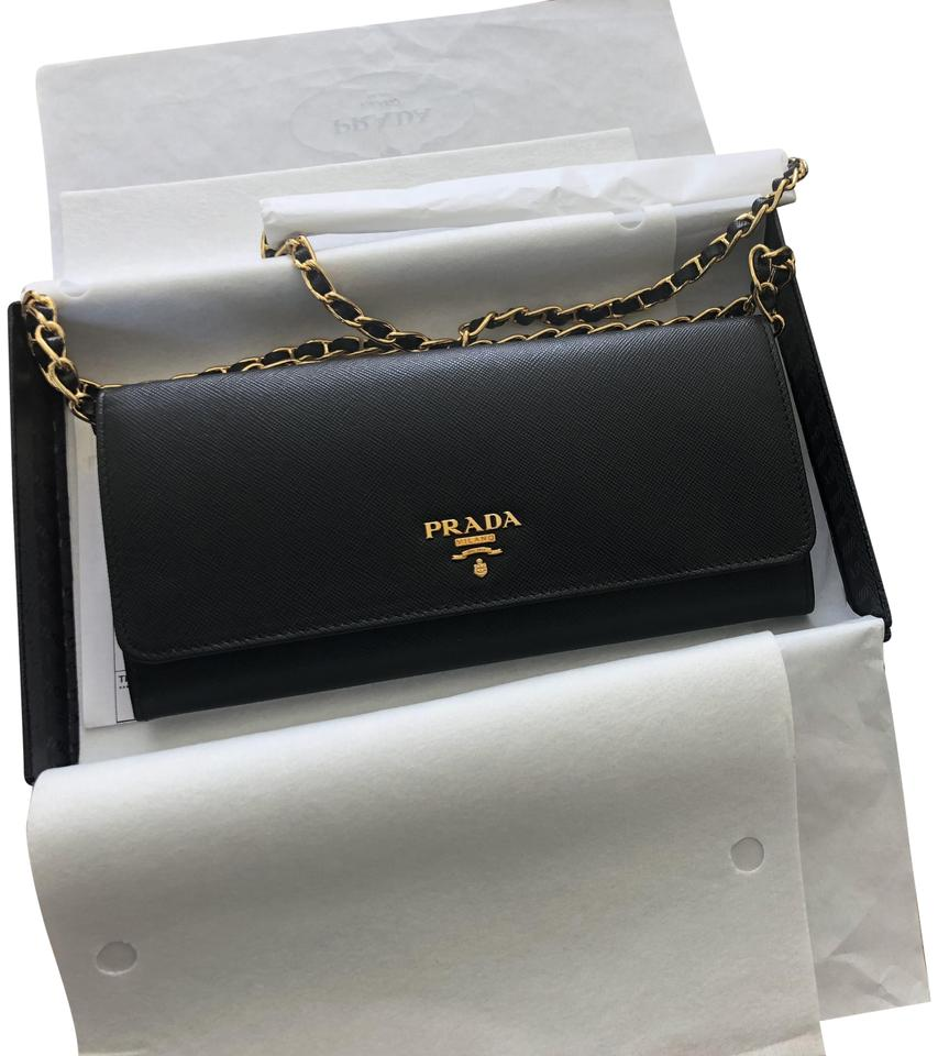 9ba93498069f Prada Woc Wallet On A Chain Black   Gold Saffiano Leather Cross Body ...