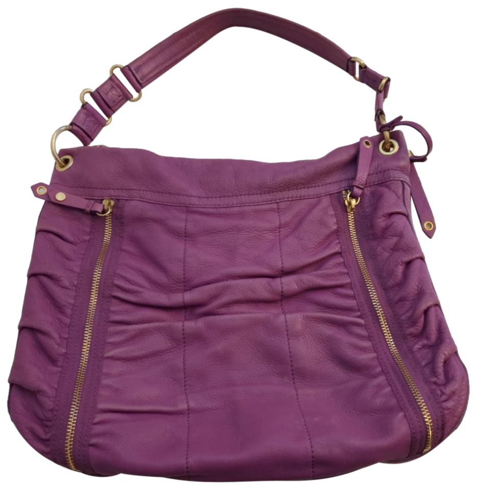 312f95b21d Cole Haan Ruched Front Zip Purple Leather Shoulder Bag - Tradesy