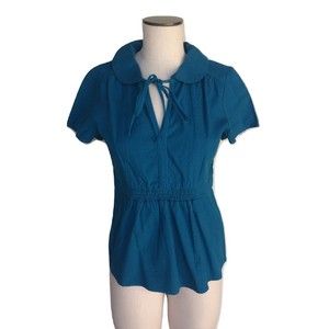 Tulle Vintage 40s Short Sleeve Collared Elastic Top Teal Blue