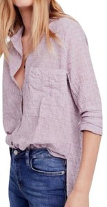 FREE PEOPLE Blue Printed Tee Button Down Shirt RED/WHITE