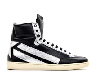 Saint Laurent Men's Sneakers High-top Leather Made In Italy Black / Silver Boots