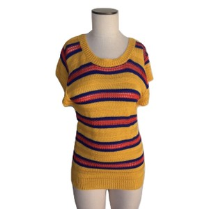 Tulle Vintage 70's Striped Tie Cap Sleeve Sweater